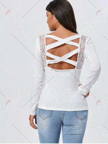 Affordable Lace Insert Long Sleeve Cross Back Tee - S WHITE Mobile