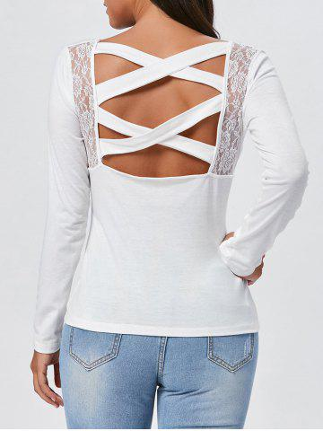 Trendy Lace Insert Long Sleeve Cross Back Tee WHITE S