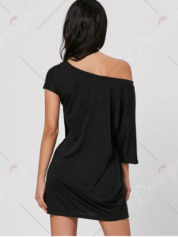 Latest Skew Neck T-shirt Mini Dress - L BLACK Mobile