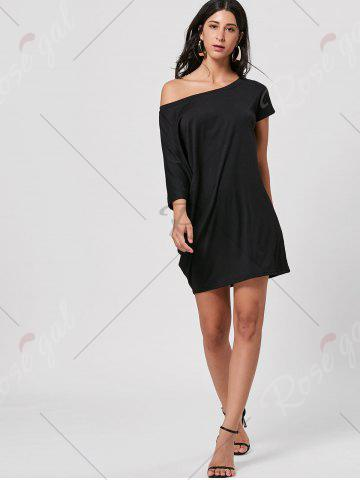 Affordable Skew Neck T-shirt Mini Dress - L BLACK Mobile