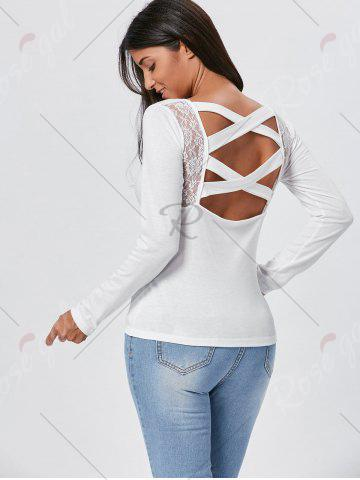 Best Lace Insert Long Sleeve Cross Back Tee - L WHITE Mobile