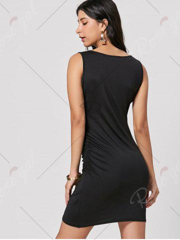 Best Ruched Mini Bodycon Dress - S BLACK Mobile