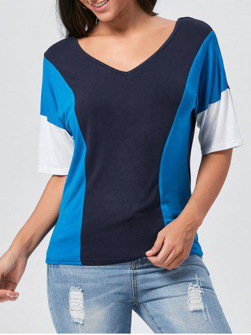 Chic V Neck Color Block Tunic T-shirt - S BLUE Mobile