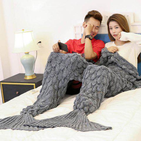 Sale Crochet Fish Scale Pattern Mermaid Blanket For Lovers GRAY 180*155CM