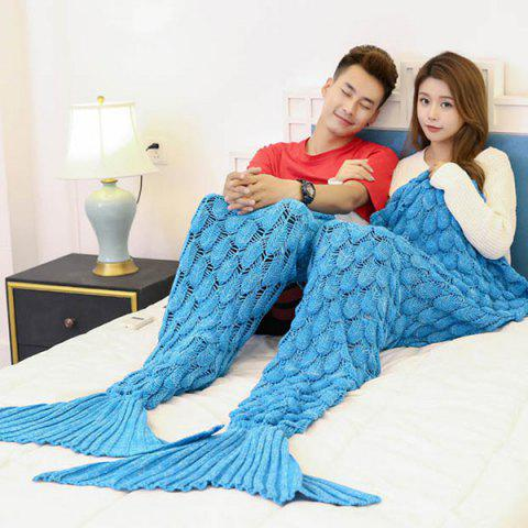 Best Crochet Fish Scale Pattern Mermaid Blanket For Lovers - 180*155CM BLUE Mobile