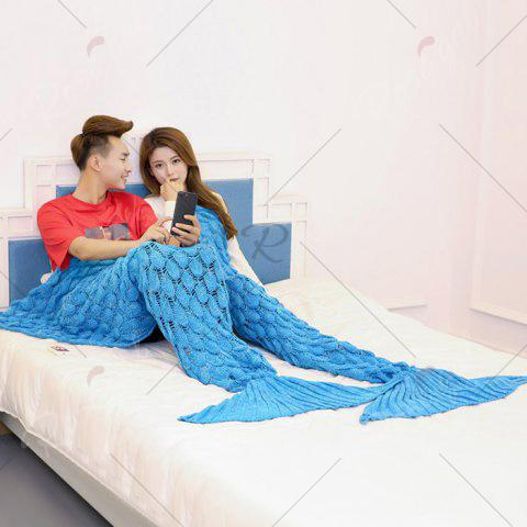Affordable Crochet Fish Scale Pattern Mermaid Blanket For Lovers - 180*155CM BLUE Mobile