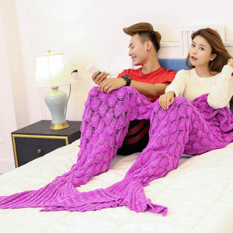 Fashion Crochet Fish Scale Pattern Mermaid Blanket For Lovers