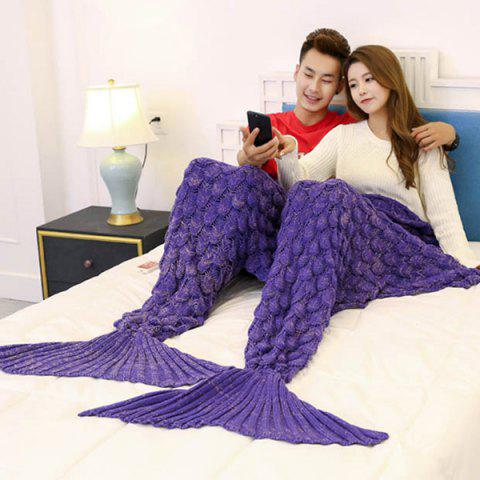 Crochet Fish Scale Pattern Mermaid Blanket For Lovers - Purple - 180*155cm