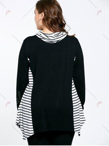 Sale Asymmetric Plus Size Stripe Panel Turtleneck T-shirt - 5XL COLORMIX Mobile