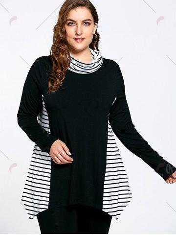 Fancy Asymmetric Plus Size Stripe Panel Turtleneck T-shirt - 5XL COLORMIX Mobile