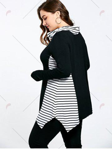 Buy Asymmetric Plus Size Stripe Panel Turtleneck T-shirt - 5XL COLORMIX Mobile