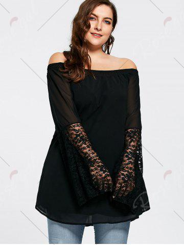 Latest Bell Sleeve Plus Size Lace Insert Tunic Top - XL BLACK Mobile