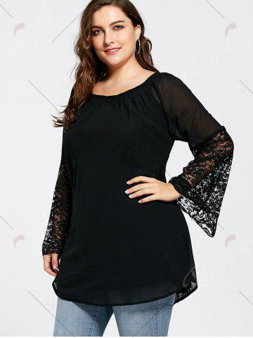 Best Bell Sleeve Plus Size Lace Insert Tunic Top - 3XL BLACK Mobile