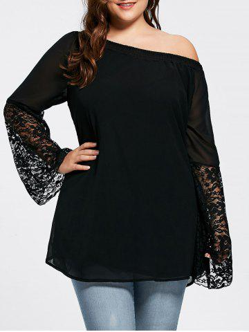 Latest Bell Sleeve Plus Size Lace Insert Tunic Top - 3XL BLACK Mobile