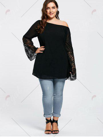 Outfit Bell Sleeve Plus Size Lace Insert Tunic Top - 4XL BLACK Mobile