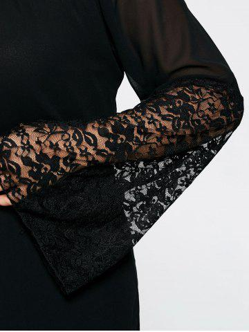 Latest Bell Sleeve Plus Size Lace Insert Tunic Top - 5XL BLACK Mobile