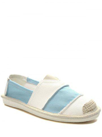 Striped Elastic Band Canvas Flat Shoes - Light Blue - 38