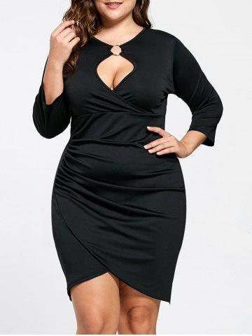 Plus Size Keyhole Neck Tulip Dress - Black - 2xl