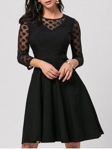 Polka Dot Mesh Insert Party Skater Dress - Black - Xl