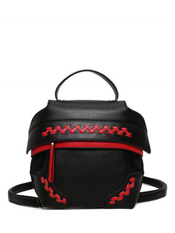 Colour Block Weave Backpack - Red With Black