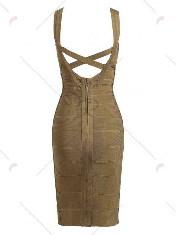 Hot Criss Cross Back Bodycon Bandage Dress - L GREEN Mobile