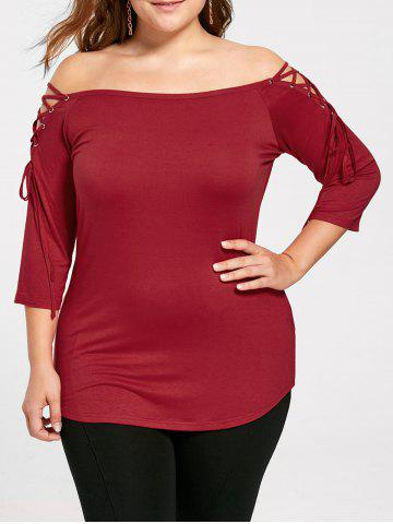 Plus Size Off The Shoulder Top - Red - 5xl