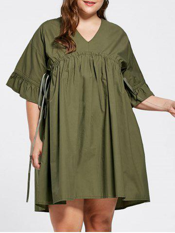 Flare Sleeve Plus Size Babydoll Dress - Army Green - 3xl