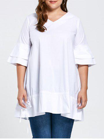 Plus Size Flare Sleeve Ruffle Top - White - Xl