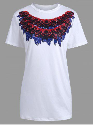 Outfits Short Sleeve Rose 3D Print Long T-shirt