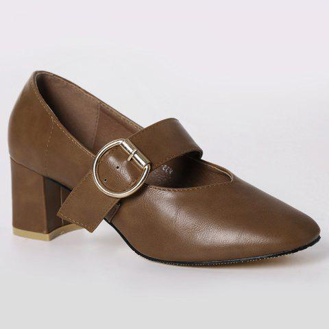 New Square Toe Mary Jane Pumps BROWN 39