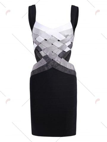 Outfits Bodycon Waist Cut Out Bandage Cage Dress - S BLACK Mobile