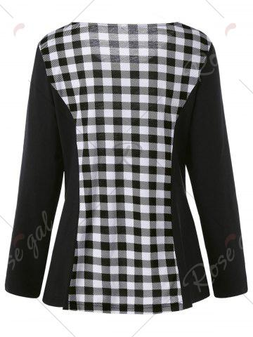 Cheap Plus Size Lace Up Long Sleeve Plaid Top - 5XL CHECKED Mobile