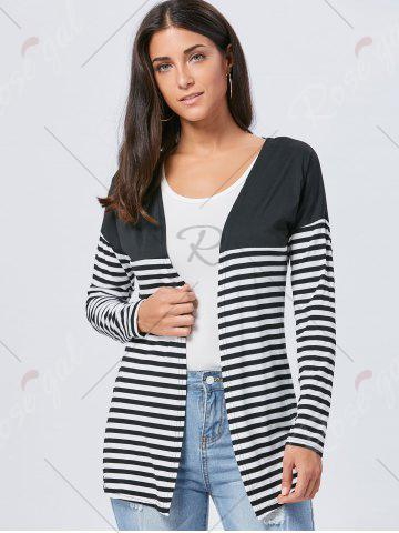 Buy Long Two Tone Striped Panel Cardigan - M BLACK Mobile