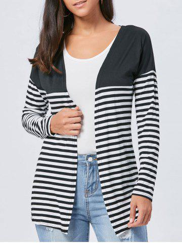 Trendy Long Two Tone Striped Panel Cardigan - L BLACK Mobile