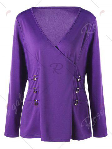 Store Plus Size Metal Buttons Plunging Neck Surplice Top - 5XL PURPLE Mobile