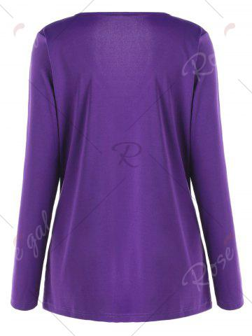 Buy Plus Size Metal Buttons Plunging Neck Surplice Top - 5XL PURPLE Mobile