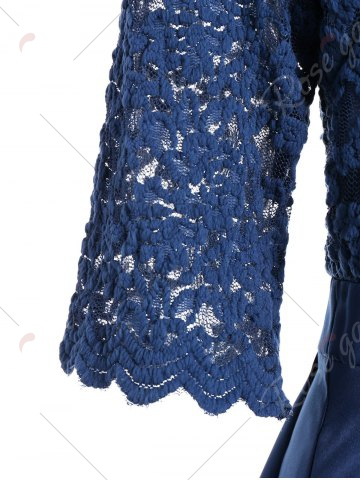 Discount Lace Insert V Neck Pin Up Cocktail Dress - XL BLUE Mobile