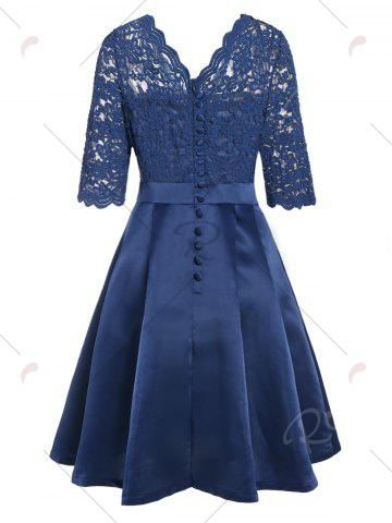 Cheap Lace Insert V Neck Pin Up Cocktail Dress - M BLUE Mobile