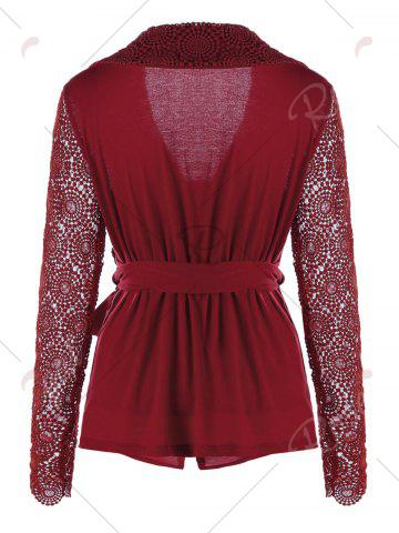 Shops Plunging Neck Long Sleeve Lace Panel Wrap Top - M RED Mobile