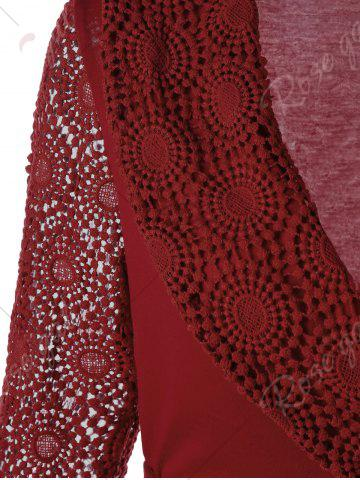 Outfit Plunging Neck Long Sleeve Lace Panel Wrap Top - M RED Mobile