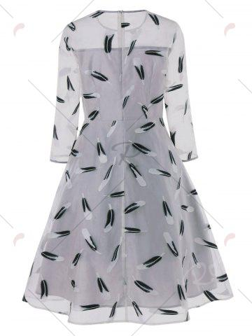 Sale Feather Print See Thru Overlay Dress - M GRAY Mobile