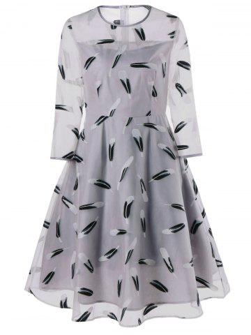 Cheap Feather Print See Thru Overlay Dress - M GRAY Mobile