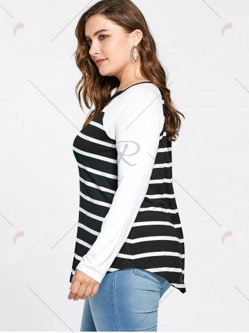 Online Plus Size Lattice Neck Striped Tee - 4XL BLACK WHITE Mobile