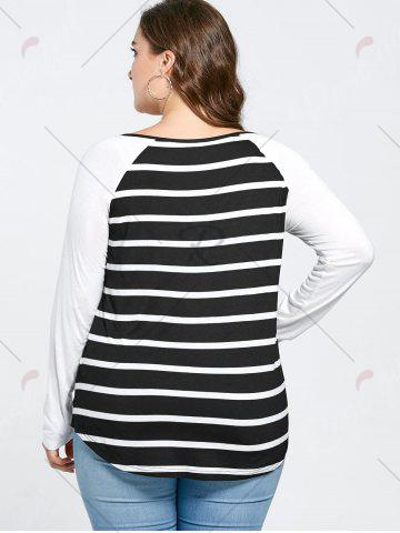 Latest Plus Size Lattice Neck Striped Tee - 4XL BLACK WHITE Mobile