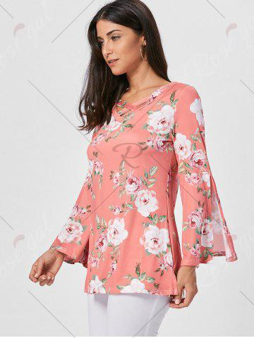 Store Floral Split Flare Sleeve Tunic Top - XL ORANGE PINK Mobile