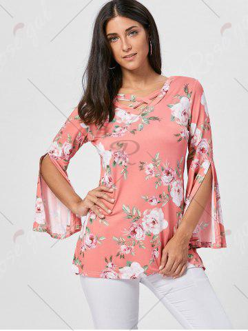 Fancy Floral Split Flare Sleeve Tunic Top - XL ORANGE PINK Mobile