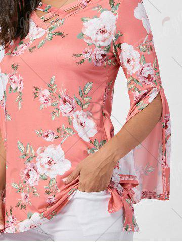 Sale Floral Split Flare Sleeve Tunic Top - XL ORANGE PINK Mobile