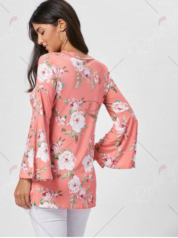 Discount Floral Split Flare Sleeve Tunic Top - S ORANGE PINK Mobile