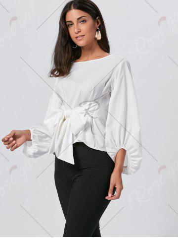 Affordable Belted Puff Sleeve Blouse - S WHITE Mobile