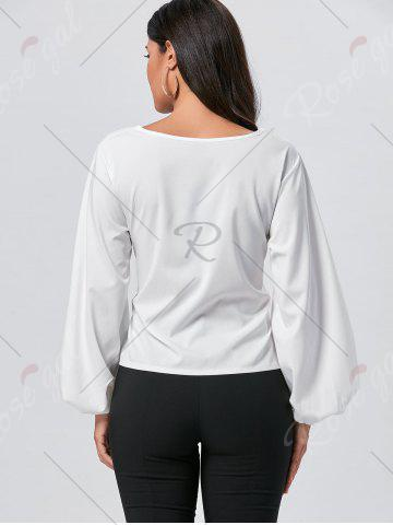 Store Belted Puff Sleeve Blouse - M WHITE Mobile